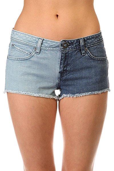Шорты джинсовые женские Volcom High Voltage Cut Off Short Sun Faded Indigo<br><br>Цвет: синий,голубой<br>Тип: Шорты джинсовые<br>Возраст: Взрослый<br>Пол: Женский