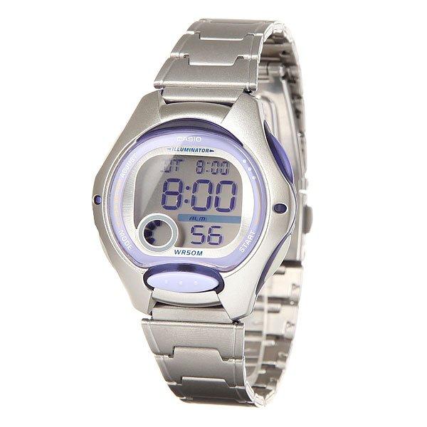 Электронные часы женские Casio Collection Lw-200d-6a Silver/PurpleФункциональные наручные часы в пластиковом корпусе на браслете из нержавеющей стали с универсальным набором функций отлично подойдут для отдыха или спорта.Технические характеристики: Светодиодная подсветка.Дополнительный циферблат мирового времени.Функция секундомера - 1/100 сек. - 24 часа.Ежедневный будильник.Автоматический календарь.12/24-часовое отображение времени.Сферическое стекло - поверхность стекла часов является выпуклой.Корпус из полимерного пластика.Браслет из нержавеющей стали.Предохранительная защелка.Продолжительное время работы аккумулятора - 10 лет.Водонепроницаемость (5 Бар) - до 50 метров.Точность  +/- 20 сек в месяц.<br><br>Цвет: серый,фиолетовый<br>Тип: Электронные часы<br>Возраст: Взрослый<br>Пол: Женский