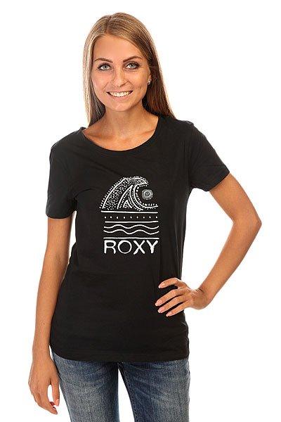 Футболка женская Roxy Itty Doty Wave J Tees True BlackФутболка для лета с ярким принтом.Характеристики:Классический крой. Короткие рукава. Круглый вырез. Графический принт.<br><br>Цвет: черный<br>Тип: Футболка<br>Возраст: Взрослый<br>Пол: Женский