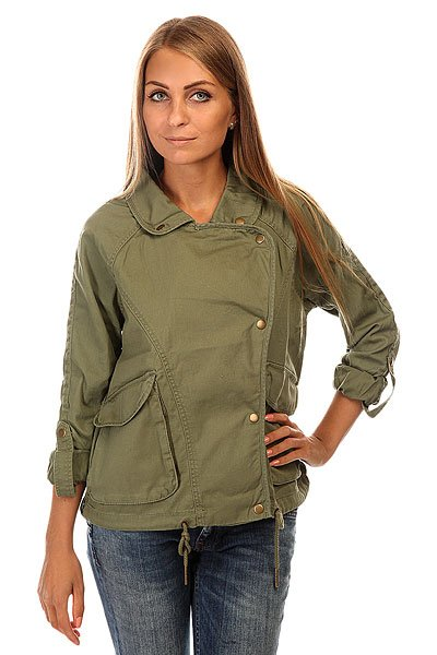 Куртка женская Roxy Watch J Jckt OlivineКороткая куртка из хлопка с контрастным принтом на спине.Технические характеристики: Отложной воротник.Карманы для рук.Рукава куртки могут быть закатаны, при этом сам рукав фиксируется на кнопку.Подол на шнурке.<br><br>Цвет: зеленый<br>Тип: Куртка<br>Возраст: Взрослый<br>Пол: Женский