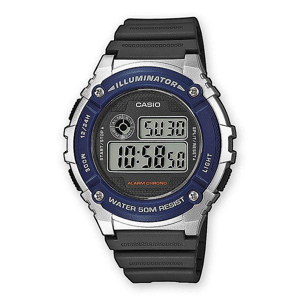 Электронные часы Casio Collection W-216h-2a Black/Grey/Blue