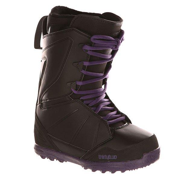 Ботинки для сноуборда женские Thirty Two Z Lashed Black/PurpКомфортные, легкие и гибкие сноубордические ботинки с традиционной системой шнуровки. Подходят для любого стиля катания.Технические характеристики: Комфортная конструкция, которая полностью учитывает потребности райдера (TEAM FIT).Формованная стелька LEVEL 2 из материала EVA и формованная область пятки и супинатор из TPU.Внутренник LEVEL 2F LINER: формованный вкладыш Heat Moldable Intuition Ultralon из пены для комфорта, тепла и поддержки; шнуровка; анатомические накладки на пятки из EVA для оптимальной фиксации; антимикробное покрытие; манжеты Fuzzy Cuff.Легкая и прочная подошва из пены HIGH DENSITY EVOLUTION.Артикуляционные манжеты.Мягкий и прочный задник.3D литой язычок.INDEPENDENT EYESTAY - ботинок сидит на ноге комфортно, как перчатка.INNER ANKLE LACING SYSTEM - система внутренней шнуровки в области лодыжки для поддержки пятки и производительности.<br><br>Цвет: черный,фиолетовый<br>Тип: Ботинки для сноуборда<br>Возраст: Взрослый<br>Пол: Женский