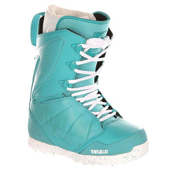Ботинки для сноуборда женские Thirty Two Z Lashed TealКомфортные, легкие и гибкие сноубордические ботинки с традиционной системой шнуровки. Подходят для любого стиля катания.Технические характеристики: Комфортная конструкция, которая полностью учитывает потребности райдера (TEAM FIT).Формованная стелька LEVEL 2 из материала EVA и формованная область пятки и супинатор из TPU.Внутренник LEVEL 2F LINER: формованный вкладыш Heat Moldable Intuition Ultralon из пены для комфорта, тепла и поддержки; шнуровка; анатомические накладки на пятки из EVA для оптимальной фиксации; антимикробное покрытие; манжеты Fuzzy Cuff.Легкая и прочная подошва из пены HIGH DENSITY EVOLUTION.Артикуляционные манжеты.Мягкий и прочный задник.3D литой язычок.INDEPENDENT EYESTAY - ботинок сидит на ноге комфортно, как перчатка.INNER ANKLE LACING SYSTEM - система внутренней шнуровки в области лодыжки для поддержки пятки и производительности.<br><br>Цвет: голубой<br>Тип: Ботинки для сноуборда<br>Возраст: Взрослый<br>Пол: Женский