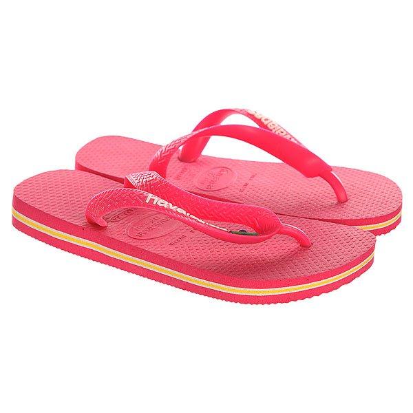 Вьетнамки детские Havaianas Brasil Logo Pink/WhiteYellow