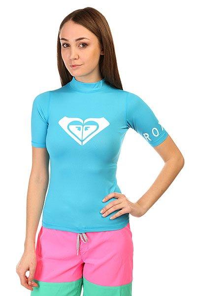 Гидрофутболка женская Roxy Lycra Contest BlueГидромайка из тонкой и эластичной лайкры, сохраняющей тепло и обеспечивающей максимальную свободу движений. Незаменимая вещь в гардеробе спортсменки любого уровня. Характеристики:Плотнооблегающий крой. Высокий ворот.Короткий рукав. Принт на груди.<br><br>Цвет: голубой<br>Тип: Гидрофутболка<br>Возраст: Взрослый<br>Пол: Женский