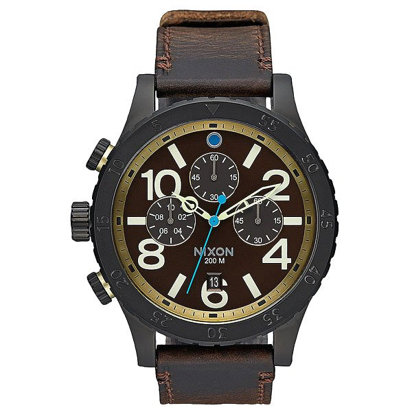 Кварцевые часы Nixon 48-20 Chrono Leather All Black/Brass/Brown