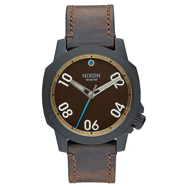 Кварцевые часы Nixon Ranger 40 Leather All Black/Brass/Brown nixon часы nixon a514 2072 коллекция ranger