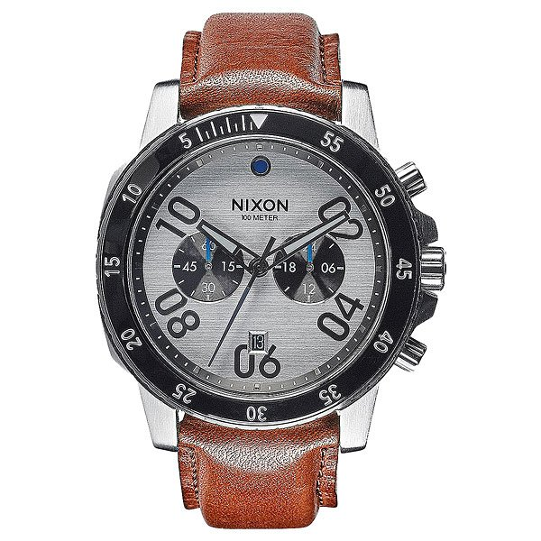 Кварцевые часы Nixon Ranger Chrono Leather Silver/Saddle nixon часы nixon a514 2072 коллекция ranger
