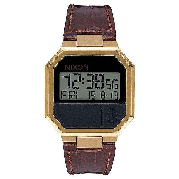 Электронные часы Nixon Re Run Leather Brown CrocNixon Re-Run Leather гармонично соединили в себе невозможное: корпус из 80-годов, футуристический дисплей и кожаный ремешок и получилась неожиданно стильная и яркая вещь, готовая удивить любого искушенного ценителя небольших аксессуаров. Эти часы чем-то напоминают олдскульный калькулятор из эпохи, когда путешествия во времени казались вполне вероятными и возможными.Характеристики:Электронный цифровой модуль.Функция инвертирования ЖК-дисплея. Функции: часы, минуты, секунды, цифровой календарь, будильник, подсветка, таймер обратного отсчета. Корпус из нержавеющей стали. Задняя крышка из нержавеющей стали. Закалённое минеральное стекло. Силиконовые литые кнопки. Стальная застежка. Материал: натуральная кожа.<br><br>Цвет: желтый,коричневый<br>Тип: Электронные часы<br>Возраст: Взрослый<br>Пол: Мужской