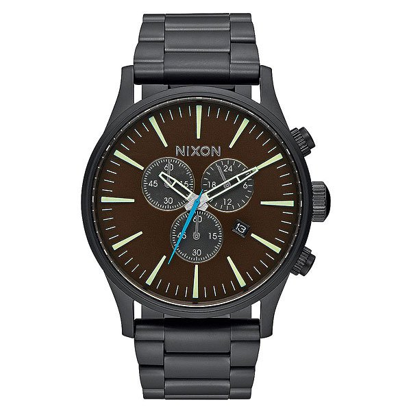 Кварцевые часы Nixon Sentry Chrono All Black/Brass/Brown кварцевые часы nixon sentry chrono black rose gold
