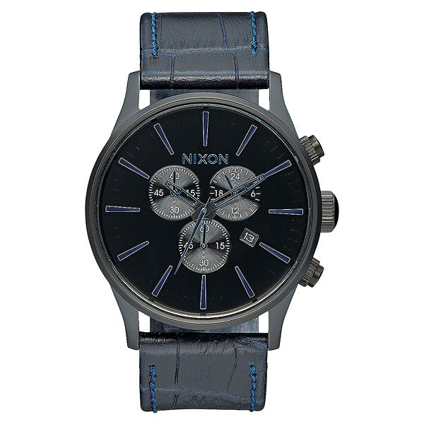 Кварцевые часы Nixon Sentry Chrono Leather Navy Gator кварцевые часы nixon sentry chrono black multi