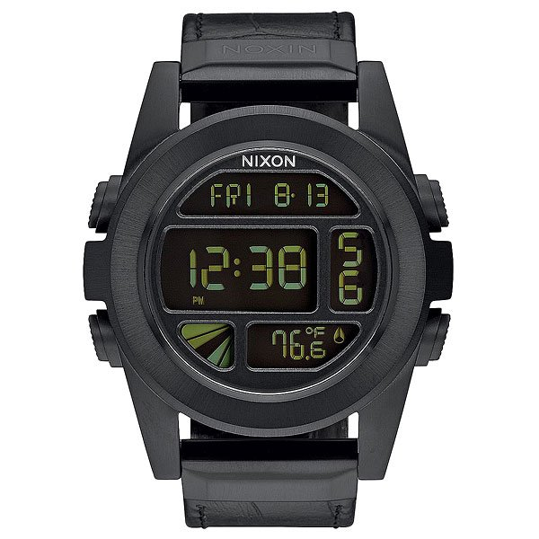 Электронные часы Nixon Unit Leather Black Gator часы nixon corporal ss matte black industrial green