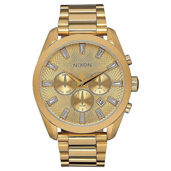 Кварцевые часы женские Nixon Bullet Chrono Crystal All Gold nixon часы nixon a418 2129 коллекция bullet