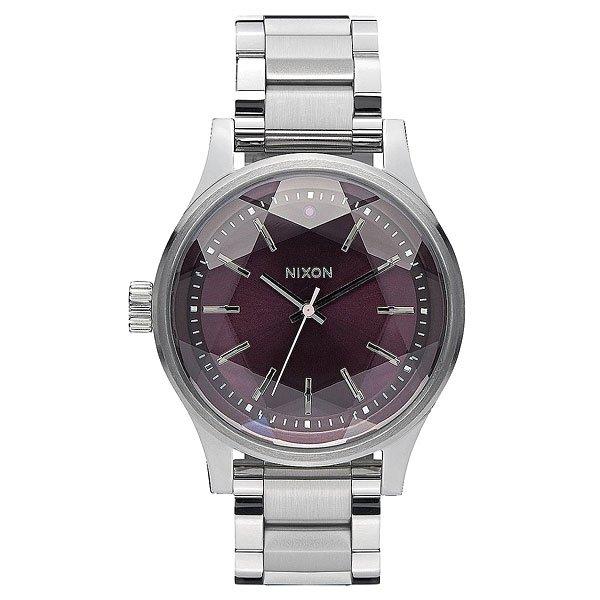 nixon часы женские 38 20 leather black hot pink Кварцевые часы женские Nixon Facet 38 Plum