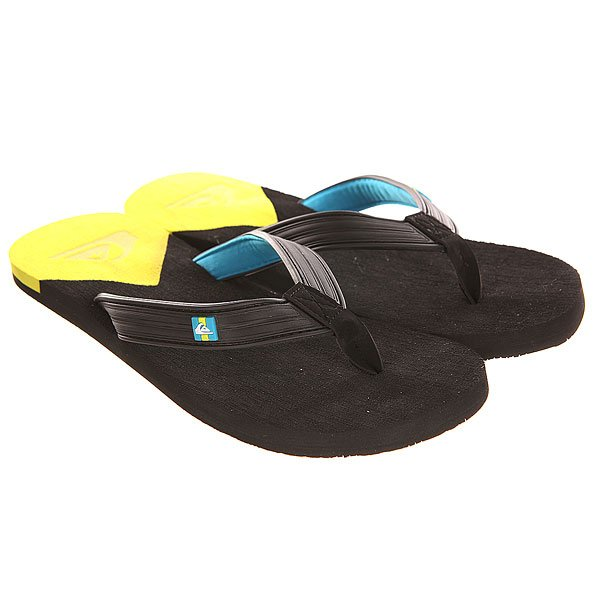 Вьетнамки Quiksilver Molokai New Del Sndl Black/Yellow цены онлайн