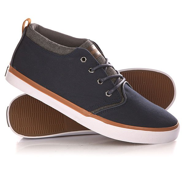 Кеды кроссовки высокие Quiksilver Griffin Canvas Shoe Blue/White/Brown