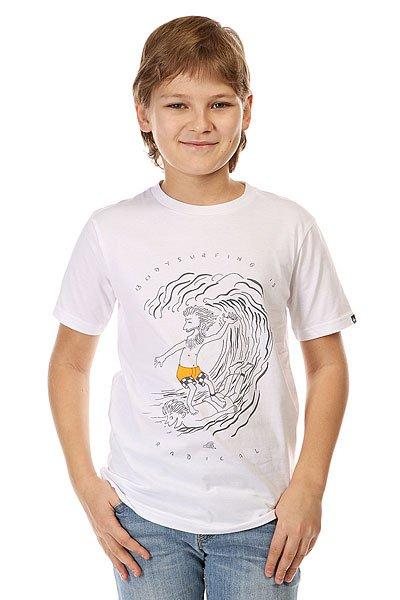 Футболка детская Quiksilver Radical Surfing Tees WhiteКлассическая детская футболка с забавным графическим принтом от Quiksilver.Технические характеристики: Легкая хлопковая ткань.Смягчающая обработка.Классический фасон.Короткие рукава.Графический принт от Quiksilver.Ярлычок с логотипом.Коллекция Dark Rituals.<br><br>Цвет: белый<br>Тип: Футболка<br>Возраст: Детский