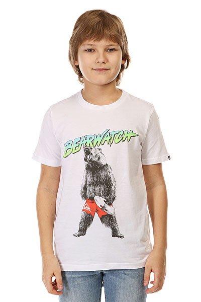 Футболка детская Quiksilver Bearwatch Tees WhiteКлассическая однотонная футболка с креативным графическим принтом от Quiksilver.Технические характеристики: Хлопковый трикотаж.Классический фасон.Короткие рукава.Креативный принт от Quiksilver на груди.Ярлычок с логотипом на рукаве.<br><br>Цвет: белый<br>Тип: Футболка<br>Возраст: Детский