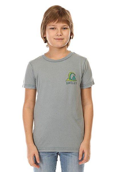 Футболка детская Quiksilver Storm Tees Flint StoneОднотонная детская футболка с креативным принтом Quiksilver.Технические характеристики: Ткань Джерси - трикотажное полотно из шерстяных, хлопчатобумажных, шелковых или синтетических нитей, которое обладает определенной эластичностью и способностью растягиваться.Классический фасон.Короткие рукава.Креативный принт от Quiksilver на груди и на спине.Ярлычок с логотипом.<br><br>Цвет: серый<br>Тип: Футболка<br>Возраст: Детский