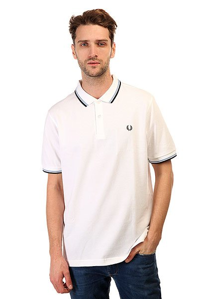 Поло Fred Perry Slim Fit Twin Tipped Shirt White поло детское fred perry my first fred perry shirt black