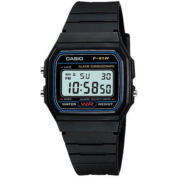 Электронные часы Casio Collection F-91W-1Q BlackПод японским брендом Casio в классической коллекции Standart Digital представлена модель мужских наручных часов F-91W-1Q. Это цифровой хронометр весом 21 г, с жидкокристаллическим LCD-циферблатом и электролюминесцентной подсветкой. Черный полимерный корпус размерами 33,2 х 38,2 х 8,5 мм укреплён на чёрном рифлёном ремешке с застёжкой пряжечного типа.Характеристики:Кварцевый механизм поддерживается питанием батареи типа CR. Продолжительность непрерывной работы кварцевой батарейки в часах CASIO F-91W-1Q достигает 2-х лет. После окончания срока её использования можно быстро произвести замену, и часы будут функционировать дальше. На прямоугольном, контрастном циферблате показатели времени отображаются в формате 12/24. После нажатия на боковые кнопки функций вы сможете задать нужный отрезок времени по секундомеру, установить время сигнала будильника. Дата и день недели определяются с помощью автоматического календаря.Часовой механизм защищён от проникновения воды по стандарту WR (Water Resistant) 30 метров, или 3 атмосферы статического давления. Хронометр не допускается к полному окунанию в воду, но способен выдержать прямое попадание водных брызг при проливном дожде и умывании. Пластиковое защитное стекло надёжно внедрено в корпус и защищено по краям синей окантовкой. Специальный состав и покрытие позволяют полимерному стеклу долгое время сохранять первоначальный вид, без царапин и других абразивных воздействий.<br><br>Цвет: черный<br>Тип: Электронные часы<br>Возраст: Взрослый<br>Пол: Мужской