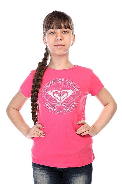 Футболка детская Roxy Rgcrewchasers Tees Peony<br><br>Цвет: розовый<br>Тип: Футболка<br>Возраст: Детский