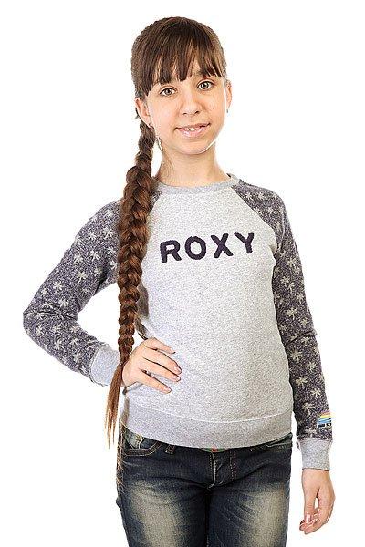Толстовка классическая детская Roxy Wonderful Otlr Little Palm Combo Ec<br><br>Цвет: серый,синий<br>Тип: Толстовка классическая<br>Возраст: Детский