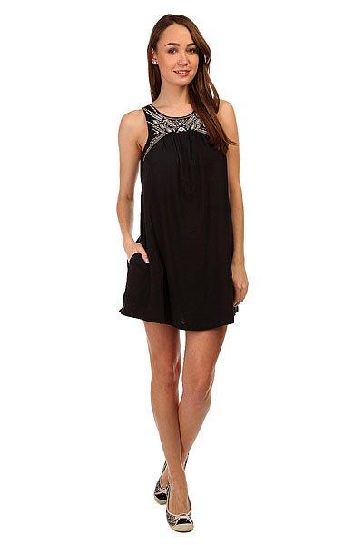 Платье женское Roxy Come Ktdr True BlackСвободное женское платье с этническим принтом от ROXY.Технические характеристики: Свободный крой.Широкие лямки.Круглый вырез.Карманы для рук.Открытая спинка.Застежка на пуговицах.Этнический принт на груди.<br><br>Цвет: черный<br>Тип: Платье<br>Возраст: Взрослый<br>Пол: Женский