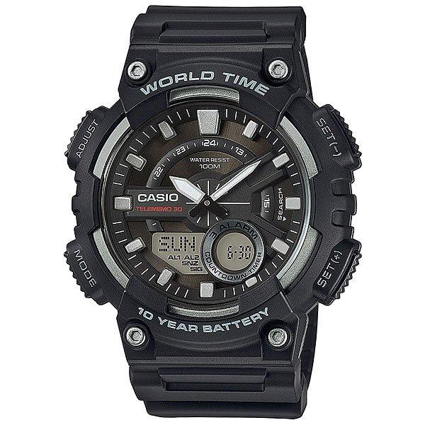 Электронные часы Casio Collection AEQ-110W-1AМногофункциональные наручные часы с двойной цифро-аналоговой индикацией. Надежные и недорогие. Характеристики:Прочный пластиковый корпус, водостойкость до 100 метров. Широкие функциональные возможности, батарея со сроком службы 10 лет, яркая светодиодная подсветка.  Секундомер с точностью показаний 1/100 сек и максимальным временем измерения 24 часа. Режимы ADD и SPLIT. Таймер обратного отсчета с точностью 1/1 секунды рассчитан на время отсчета до 24 часов. Ежечасный сигнал и 3 ежедневных будильников, один с функцией автоповтора через несколько минут «snooze». Отображение времени в 29 различных часовых поясах с обозначением 30 основных городов в этих зонах.Автоматический календарь не требует дополнительных настроек до 2099 года и показывает дату, день недели и месяц. Отображение текущего времени в 12 или 24-часовом формате. Комбинированный корпус с обновленным современным дизайном, напоминающим модели из самой известной противорударной серии. Корпус выполнен из полимерного материала. Стекло из полимерного материала, устойчивое к ударному воздействию, имеет сферическую форму. Циферблат с объемным дизайном, накладные элементы оформления.Стальная задняя крышка крепится к корпусу 4 винтами. Полимерный ремешок прочный и долговечный с простой застежкой.<br><br>Цвет: черный,серый<br>Тип: Электронные часы<br>Возраст: Взрослый<br>Пол: Мужской