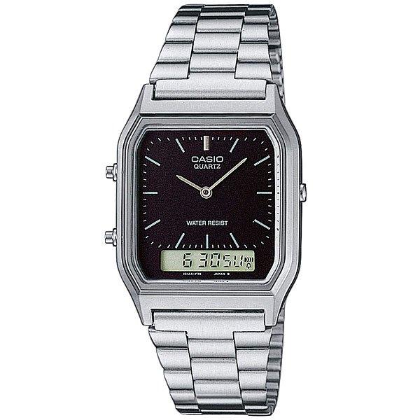 Кварцевые часы Casio Collection AQ-230A-1DНаручные часы Casio Collection Модельного ряда AQ-230. Второй часовой пояс Вы можете установить время для другого часового пояса. Идеально, если вы часто путешествуете за границу. Характеристики:Функция секундомера - 1/100 сек. - 1 час.Прошедшее время, раздельное время (split time) и заключительное время с точностью до 1/100 сек. Часы могут измерить промежуток времени до 1 часа. Ежедневный сигнал напомнит вам о событиях, которые повторяются каждый день, издавая сигнал в заданное время.Вечный календарь до 2099 года. Время может быть показано в 12-часовом или 24-часовом формате.Корпус из полимерного материала. Надежный, прочный и элегантный браслет из нержавеющей стали. Застежка легко настраивается для обеспечения максимального удобства. Аккумулятор обеспечивает часы достаточной энергией в течение 3 лет. Эта модель является водонепроницаемым на DIN 8310 / ISO 22810, и, таким образом, устойчива к незначительному намоканию. Любого большего водного контакта нужно избегать.Точность:+/- 30 секунд в месяц. Тип батареи: SR920W.<br><br>Цвет: серый<br>Тип: Кварцевые часы<br>Возраст: Взрослый<br>Пол: Мужской