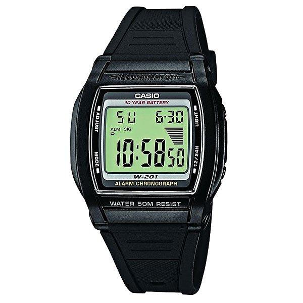 Электронные часы Casio Collection W-201-1AМужские электронные наручные часы в пластиковом корпусе и на резиновом ремешке черного цвета, оснащены календарем и будильником.Характеристики:Автоматический календарь. 12 и 24-часовой формат времени. Отображение времени в двух часовых поясах. Электрическая подсветка - для освещения циферблата используется светодиод. Одновременное отображение текущего времени в двух разных часовых поясах. Секундомер с точностью показаний 1/100 сек и максимальным временем измерения - 24 час. Ежедневный будильник со звуковым сигналом. Срок службы батареи 10 лет. Точность хода: не хуже +/-20 секунд в месяц.<br><br>Цвет: черный<br>Тип: Электронные часы<br>Возраст: Взрослый<br>Пол: Мужской