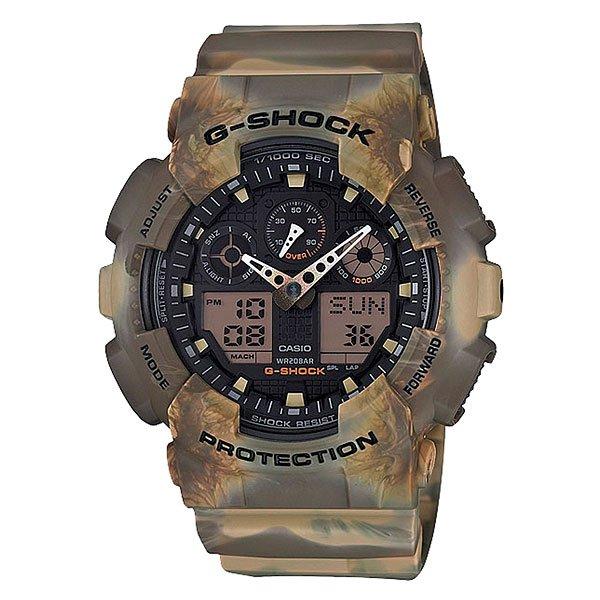 Электронные часы Casio G-Shock GA-100MM-5AЧасы Casio G-Shock GA-100MM.Часы наручные серии Casio G-ShockG-Shock - ударопрочная конструкция защищает от ударов и вибрации.Характеристики:Экран: Стрелки + электроника. Корпус: пластик. Ремешок: резиновый.Стекло: минеральное.Светодиодная автоподсветка.Светодиод подсвечивает дисплей часов.При повороте часов в сторону лица подсветка дисплея осуществляется автоматически, благодаря функции Автоподсветка (Вы можете отключить эту функцию по своему усмотрению и пользоваться подсветкой только от нажатия клавиши подсветки).Будильник: 5 независимых будильников + возможность ежечасного сигнала + функция будильник с повтором через несколько минут.Секундомер с точностью до 1/1000 секунды.Таймер обратного отсчета с функцией повтора.Режим Мирового времени: Обеспечивает отображение текущего времени в некоторых городах и определенных регионах мира.Полностью автоматический календарь12- и 24-часовой формат времени.<br><br>Цвет: зеленый<br>Тип: Электронные часы<br>Возраст: Взрослый<br>Пол: Мужской
