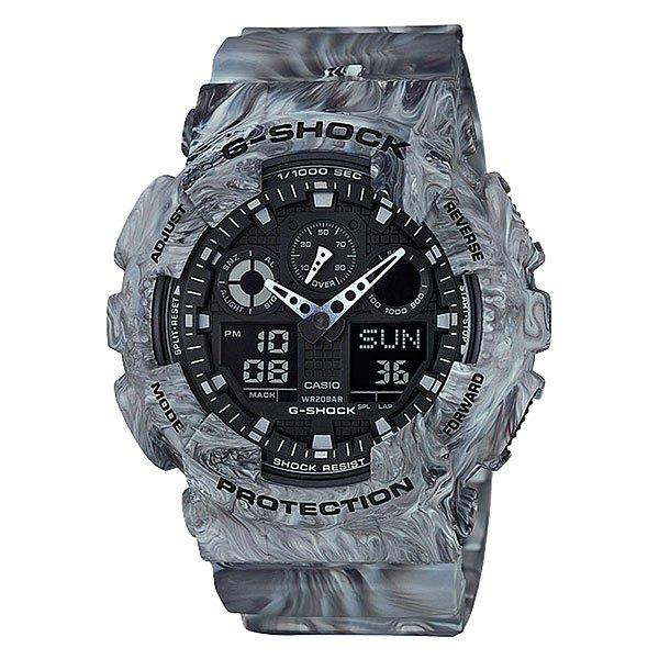 Электронные часы Casio G-Shock GA-100MM-8AЧасы Casio G-Shock GA-100MM.Часы наручные серии Casio G-ShockG-Shock - ударопрочная конструкция защищает от ударов и вибрации.Характеристики:Экран: Стрелки + электроника. Корпус: пластик. Ремешок: резиновый.Стекло: минеральное.Светодиодная автоподсветка.Светодиод подсвечивает дисплей часов.При повороте часов в сторону лица подсветка дисплея осуществляется автоматически, благодаря функции Автоподсветка (Вы можете отключить эту функцию по своему усмотрению и пользоваться подсветкой только от нажатия клавиши подсветки).Будильник: 5 независимых будильников + возможность ежечасного сигнала + функция будильник с повтором через несколько минут.Секундомер с точностью до 1/1000 секунды.Таймер обратного отсчета с функцией повтора.Режим Мирового времени: Обеспечивает отображение текущего времени в некоторых городах и определенных регионах мира.Полностью автоматический календарь 12- и 24-часовой формат времени.<br><br>Цвет: серый<br>Тип: Электронные часы<br>Возраст: Взрослый<br>Пол: Мужской