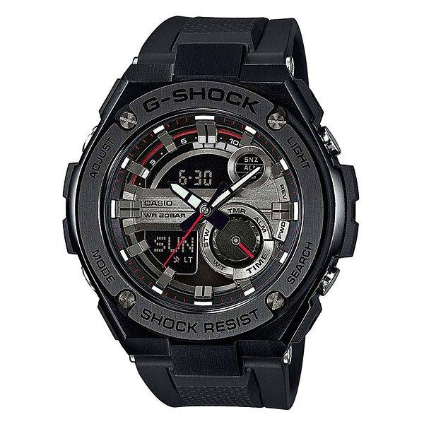 Электронные часы Casio G-Shock GST-210B-1AУдаропрочные и водостойкие наручные часы с исполнением премиум-класса, современный дизайн. Комбинированный корпус из нерж. стали и полимерного материала. Многофункциональный кварцевый механизм с цифроаналоговой индикацией и суперяркой LED-подсветкой.Характеристики:Кварцевый механизм, модуль 5475, с двойной цифроаналоговой индикацией, который управляется 4 кнопками. Два элемента питания SR927W рассчитан на работу в течение 2 лет. Точность хода с погрешностью +/- 15 сек в месяц. Функция мирового времени в 31 часовом поясе с обозначением 48 основных городов в этих временных зонах. Функция секундомера с точностью измерений 1/100 сек. и общим временем 24 часа. Режимы ADD и SPLIT. Таймер обратного отчета с точность 1 секунда и диапазоном от 1 минуты до 60 минут. Пять ежедневных будильников, один с функцией автоповтора «snooze» и ежечасный сигнал. Включение/выключение звука кнопок. Автоматический календарь с возможностью настройки даты до 2099 года.Отображение времени в 12/24-часовом формате. Сверхяркая электрическая подсветка с регулируемым временем свечения от 1,5 до 3 секунд. Автоматическая светодиодная LED-подсветка дисплея активируется как при нажатии соответствующей кнопки, так и при подъеме и повороте руки при недостаточной освещенности. Комбинированный корпус, с ударопрочной конструкцией выполнен из полимерного материала и элементов из нерж. стали, имеет дополнительно защиту от воздействия вибрации. Фронтальная поверхность корпуса из нержавеющей стали 316L, поверхности с матовой шлифовкой (сатинированием), IP-покрытие черного цвета. Корпус часов специально спроектирован с повышенной устойчивостью к воздействию вибрации. Безель из нержавеющей стали 316L с черным IP-покрытием. Минеральное стекло устойчивое к возникновению царапин.Объемный циферблат, 3D метки и стрелки с необритовым покрытием имеющим долгое послесвечение. Комбинированный ремешок из полимерного материала с тисненой поверхностью - прочный и долговечный, стандарт