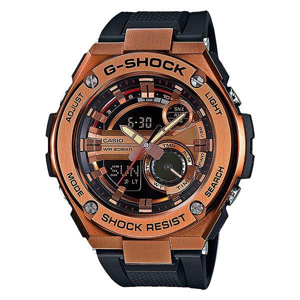 Электронные часы Casio G-Shock GST-210B-4AУдаропрочные и водостойкие наручные часы с исполнением премиум-класса, современный дизайн. Комбинированный корпус из нерж. стали и полимерного материала. Многофункциональный кварцевый механизм с цифроаналоговой индикацией и суперяркой LED-подсветкой.Характеристики:Кварцевый механизм, модуль 5475, с двойной цифроаналоговой индикацией, который управляется 4 кнопками. Два элемента питания SR927W рассчитан на работу в течение 2 лет. Точность хода с погрешностью +/- 15 сек в месяц. Функция мирового времени в 31 часовом поясе с обозначением 48 основных городов в этих временных зонах. Функция секундомера с точностью измерений 1/100 сек. и общим временем 24 часа. Режимы ADD и SPLIT. Таймер обратного отчета с точность 1 секунда и диапазоном от 1 минуты до 60 минут. Пять ежедневных будильников, один с функцией автоповтора «snooze» и ежечасный сигнал. Включение/выключение звука кнопок. Автоматический календарь с возможностью настройки даты до 2099 года.Отображение времени в 12/24-часовом формате. Сверхяркая электрическая подсветка с регулируемым временем свечения от 1,5 до 3 секунд. Автоматическая светодиодная LED-подсветка дисплея активируется как при нажатии соответствующей кнопки, так и при подъеме и повороте руки при недостаточной освещенности. Комбинированный корпус, с ударопрочной конструкцией выполнен из полимерного материала и элементов из нерж. стали, имеет дополнительно защиту от воздействия вибрации. Фронтальная поверхность корпуса из нержавеющей стали 316L, поверхности с матовой шлифовкой (сатинированием), IP-покрытие черного цвета. Корпус часов специально спроектирован с повышенной устойчивостью к воздействию вибрации. Безель из нержавеющей стали 316L с черным IP-покрытием. Минеральное стекло устойчивое к возникновению царапин.Объемный циферблат, 3D метки и стрелки с необритовым покрытием имеющим долгое послесвечение. Комбинированный ремешок из полимерного материала с тисненой поверхностью - прочный и долговечный, стандарт