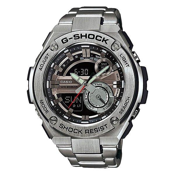 Электронные часы Casio G-Shock GST-210D-1AУдаропрочные и водостойкие наручные часы с исполнением премиум-класса, современный дизайн. Комбинированный корпус из нерж. стали и полимерного материала. Многофункциональный кварцевый механизм с цифроаналоговой индикацией и суперяркой LED-подсветкой.Характеристики:Кварцевый механизм, модуль 5475, с двойной цифроаналоговой индикацией, который управляется 4 кнопками. Два элемента питания SR927W рассчитан на работу в течение 2 лет. Точность хода с погрешностью +/- 15 сек в месяц. Функция мирового времени в 31 часовом поясе с обозначением 48 основных городов в этих временных зонах. Функция секундомера с точностью измерений 1/100 сек. и общим временем 24 часа. Режимы ADD и SPLIT. Таймер обратного отчета с точность 1 секунда и диапазоном от 1 минуты до 60 минут. Пять ежедневных будильников, один с функцией автоповтора «snooze» и ежечасный сигнал. Включение/выключение звука кнопок. Автоматический календарь с возможностью настройки даты до 2099 года.Отображение времени в 12/24-часовом формате. Сверхяркая электрическая подсветка с регулируемым временем свечения от 1,5 до 3 секунд. Автоматическая светодиодная LED-подсветка дисплея активируется как при нажатии соответствующей кнопки, так и при подъеме и повороте руки при недостаточной освещенности. Комбинированный корпус, с ударопрочной конструкцией выполнен из полимерного материала и элементов из нерж. стали, имеет дополнительно защиту от воздействия вибрации. Фронтальная поверхность корпуса из нержавеющей стали 316L, поверхности с матовой шлифовкой (сатинированием), IP-покрытие черного цвета. Корпус часов специально спроектирован с повышенной устойчивостью к воздействию вибрации. Безель из нержавеющей стали 316L с черным IP-покрытием. Минеральное стекло устойчивое к возникновению царапин.Объемный циферблат, 3D метки и стрелки с необритовым покрытием имеющим долгое послесвечение. Комбинированный ремешок из полимерного материала с тисненой поверхностью - прочный и долговечный, стандарт