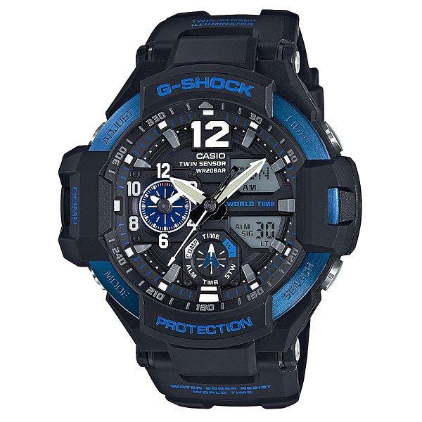 Электронные часы Casio G-Shock GA-1100-2BУдаропрочные и водостойкие наручные часы с исполнением премиум-класса, авиационный дизайн. Комбинированный корпус из нерж.стали и полимерного материала. Цифроаналоговая индикация, отображение показаний компаса и термометра, мировое время.Характеристики:Кварцевый механизм, модуль 5441, с двойной цифроаналоговой индикацией, который управляется 5 кнопками и работает от двух батареек SR927W в течение 2 лет. Точность хода с погрешностью +/- 15 сек в месяц. Цифровой компас. Термометр с диапазоном измерений от -10 до +60°C). Функция мирового времени. Постоянное отображение времени второго часового пояса на маленьком индикаторе около отметки «9 часов». Функция секундомера с точностью измерений 1/100 сек. и общим временем 1 час. Таймер обратного отчета с диапазоном от 1 минуты до 1 часа. 5 ежедневных будильников и ежечасный сигнал. Функция перемещения стрелок – при нажатии на кнопки стрелки перемещаюся в положение, позволяющее видеть информацию на маленьких цифровых дисплеях. Включение/выключение звука кнопок.Автоматический календарь. Отображение времени в 12/24-часовом формате.Сверхяркая электрическая подсветка с регулируемым временем свечения от 1,5 до 3 секунд. Комбинированный корпус, с ударопрочной конструкцией выполнен из полимерного материала и, имеет дополнительно защиту от воздействия вибрации. Корпус часов специально спроектирован с повышенной устойчивостью к воздействию вибрации.Безель из нержавеющей стали с черным IP-покрытием. Минеральное стекло устойчивое к возникновению царапин. Объемный циферблат, 3D метки и стрелки с необритовым покрытием имеющим долгое послесвечение. Полимерный ремешок прочный и долговечный, литая застежка с шипом.<br><br>Цвет: черный,синий<br>Тип: Электронные часы<br>Возраст: Взрослый<br>Пол: Мужской