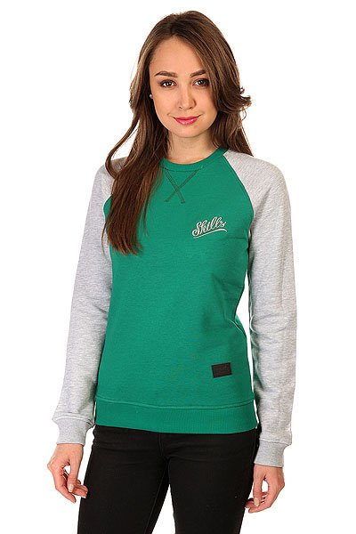 Толстовка свитшот женская Skills Script Logo 3v Crewneck Green/Grey Melange<br><br>Цвет: зеленый,серый<br>Тип: Толстовка свитшот<br>Возраст: Взрослый<br>Пол: Женский