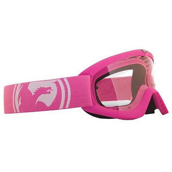 Маска для мотоспорта детская Dragon Mx Pink/Clear722-1503Маска со смелым дизайном, который непременно оценят юные райдеры, к тому же маска снабжена прочными линзами из лексана и отличной системой вентиляции.Технические характеристики: Эластичная полиуретановая оправа.Система однонаправленного воздушного потока.Одинарные линзы из лексана.100% защита от ультрафиолета.Хорошая совместимость со шлемом.Комфортный уплотнитель из микрофлиса.Регулируемый ремень с силиконом.Линза с креплением для отрывных пленок Tear-offs.Линза Clear лучше всего подходит для вечернего катания при искусственном освещении.Маленький размер.<br><br>Цвет: розовый<br>Тип: Маски<br>Возраст: Детский