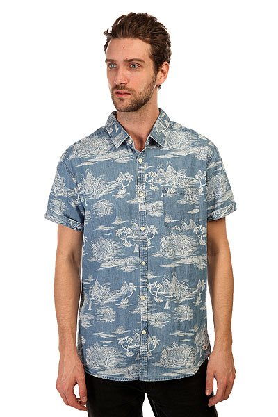 Рубашка Quiksilver Pyramid Point S Pyramid Point Shirt Ocean Blue