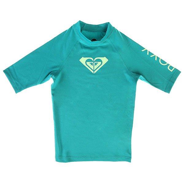 Гидрофутболка детская Roxy Whole Heart Dark JadeСерфовый топ для девочек Whole Hearted Short Sleeve от ROXY.Технические характеристики: Мягкий, удобный и прочный эластичный полиэстер.Облегающий крой.Короткие рукава реглан.Плоские швы.Фактор защиты от солнечного УФ излучения UPF 50+.Превосходно сохраняет форму и цвет на протяжение срока службы.Однотонный дизайн с контрастным логотипом ROXY.<br><br>Цвет: голубой<br>Тип: Гидрофутболка<br>Возраст: Детский