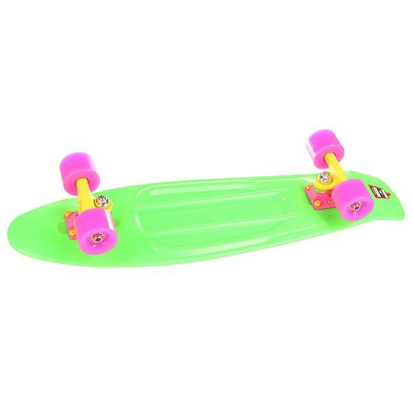 Скейт мини круизер Пластборд Neon Frog Green 7.5 x 28 (71.1 см)Пластборд Юнион(Union) - это пластиковый скейтборд-круизер с загнутым хвостом для передвижения по городу и трюкачества. Очень прочная дека, качественные подвески, подшипники и колеса сделают вашу езду плавной и комфортной. Технические характеристики: Дека из прочного полиуретана повышенной прочности и эластичности. Подвески изалюминия. Бушинги Union 89А. Подшипники -Union Water Prof Abec7 (водонепроницаемаяконструкция). Колеса - круизного типа Union Virage диаметром 59 мм с стандартной мягкостью 83А. Нестирающееся цепкое покрытие. Различные расцветки в ассортименте.<br><br>Цвет: зеленый<br>Тип: Скейт мини круизер