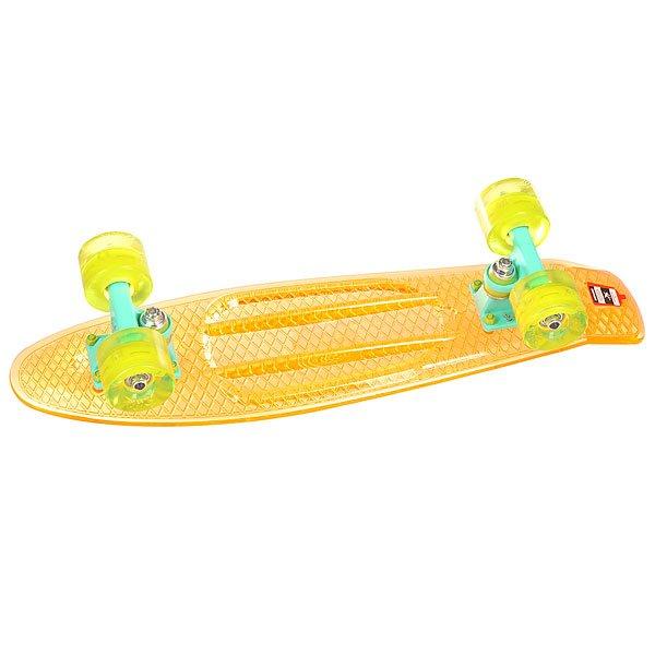 Скейт мини круизер Union Transp Juice 6 x 22.5 (57.2 см)Пластборд Юнион (Union) - это пластиковый скейтборд-круизер с загнутым хвостом для передвижения по городу и трюкачества. Очень прочная дека, качественные подвески, подшипники и колеса сделают вашу езду плавной и комфортной. Технические характеристики: Дека из прочного полиуретана повышенной прочности и эластичности. Подвески из алюминия. Бушинги Union 89А. Подшипники - Union Water Prof Abec7 (водонепроницаемая конструкция). Колеса - круизного типа Union Virage диаметром 59 мм с стандартной мягкостью 83А. Колеса, которые светятся при езде.Нестирающееся цепкое покрытие. Различные расцветки в ассортименте.<br><br>Цвет: оранжевый,зеленый,желтый<br>Тип: Скейт мини круизер