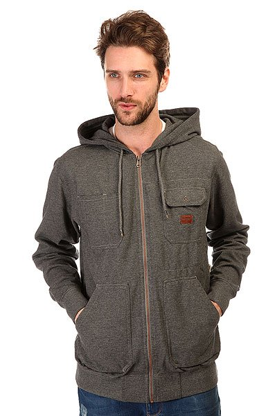 Толстовка классическая Billabong Marked Zip Hood Dark Grey Heath толстовка женская billabong granite zip hoodle 2017 black cherry m