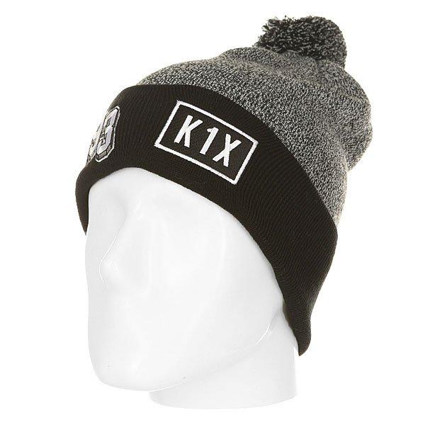 Шапка K1X 93 Bommel Beanie Grey/Black<br><br>Цвет: черный,серый<br>Тип: Шапка<br>Возраст: Взрослый<br>Пол: Мужской