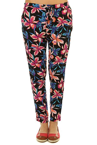 Штаны прямые женские Roxy Palm Trees Pant True Black Maui Ligh roxy гейтор roxy winter true black fw17