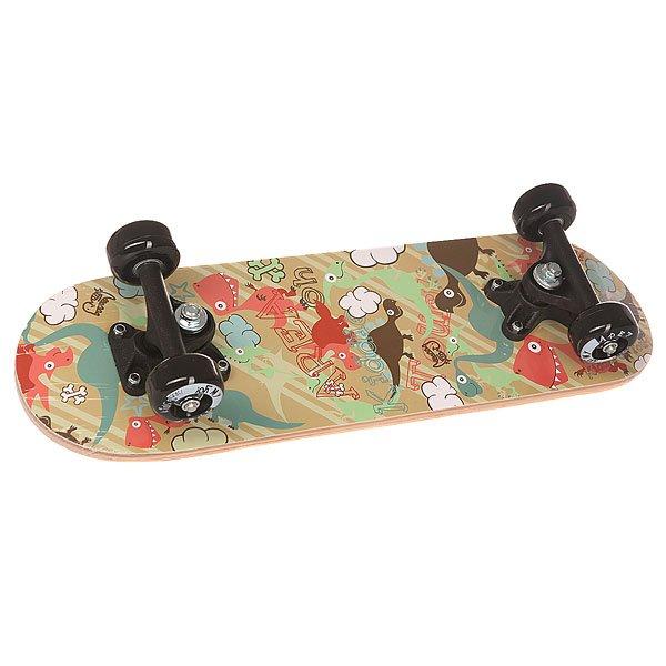 Скейтборд в сборе детский детский Fun4U Dino Garden Multi 20 x 6 (15.2 см)Маленький скейтборд подойдёт для тех малышей, которым нравиться экстремальная прогулка. Достаточно не эластичный, он как раз подходит для детей которые ещё только учатся держать равновесие.Характеристики:Дека:китайский клен, 9 слоев. Двойной конкейв. Подвеска:алюминий. Колеса:50х30 мм, жесткость 92 А. Треки: 3,5 pp Trucks. Максимальная нагрузка – 20 кг.<br><br>Цвет: мультиколор<br>Тип: Скейтборд в сборе детский<br>Возраст: Детский