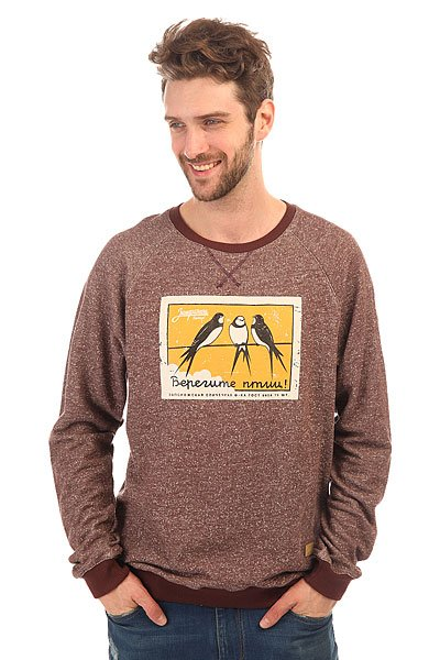 Толстовка свитшот Запорожец Птицы Бордовый Меланж