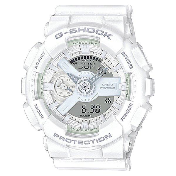 Электронные часы Casio G-Shock Gma-s110cm-7a1 WhiteУдаропрочные, функциональные наручные часы в спортивном дизайне выполнены из полимерного пластика и обладают отличными техническими характеристиками.Технические характеристики: Автоматическая светодиодная подсветка.Ударопрочная конструкция защищает от ударов и вибрации.Функция мирового времени.Функция секундомера - 1/1000 сек. - 100 часов.Таймер - 1/1 мин. - 24 часа (с автоматическим повтором).5 ежедневных будильников.Функция повтора будильника.Отображение скорости.Автоматический календарь.12/24-часовое отображение времени.Минеральное стекло - прочное, устойчивое к царапинам минеральное стекло защищает часы от повреждений.Корпус из полимерного пластика.Ремешок из полимерного материала.Время работы аккумулятора - 2 года.Водонепроницаемость (20 Бар) до 200м.Точность +/- 15 секунд в месяц.<br><br>Цвет: белый<br>Тип: Электронные часы<br>Возраст: Взрослый<br>Пол: Мужской