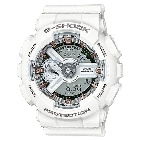 Электронные часы Casio G-Shock Gma-s110cm-7a2 WhiteУдаропрочные, функциональные наручные часы в спортивном дизайне выполнены из полимерного пластика и обладают отличными техническими характеристиками.Технические характеристики: Автоматическая светодиодная подсветка.Ударопрочная конструкция защищает от ударов и вибрации.Функция мирового времени.Функция секундомера - 1/1000 сек. - 100 часов.Таймер - 1/1 мин. - 24 часа (с автоматическим повтором).5 ежедневных будильников.Функция повтора будильника.Отображение скорости.Автоматический календарь.12/24-часовое отображение времени.Минеральное стекло - прочное, устойчивое к царапинам минеральное стекло защищает часы от повреждений.Корпус из полимерного пластика.Ремешок из полимерного материала.Время работы аккумулятора - 2 года.Водонепроницаемость (20 Бар) до 200м.Точность +/- 15 секунд в месяц.<br><br>Цвет: белый<br>Тип: Электронные часы<br>Возраст: Взрослый<br>Пол: Мужской